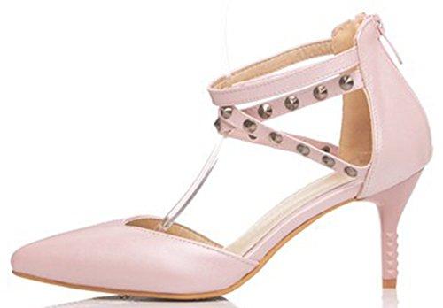 Idifu Donna Sexy Borchiato Croce Cinturino Alla Caviglia Stiletto Gattino Tacco Pompe Scarpe A Punta Con Zip Rosa