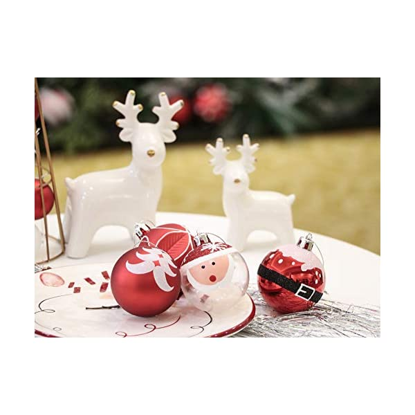 Valery Madelyn Palle di Natale 9 Pezzi 6cm Addobbi Natalizi, Traditional Red And White Shatterproof Christmas Ball Ornaments Decoration for Christmas Tree Decor 5 spesavip