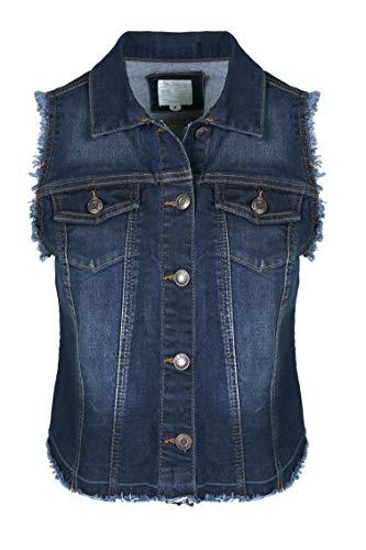 SHOP DORDOR BW-073 Women's Sleeveless Frayed Armhole Washed Jean Denim Vest Jacket Dark Denim 3XL