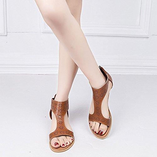 8186de360 Mujer Peep-Toe Sandalias Moda Plano Zapatos Vendimia Romano Gladiador  Sandalias Primavera Verano T-