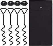 Suteck Trampoline Stakes Spiral Ground Anchor Kit 16 Inch Heavy Duty Solid Steel Stakes Set with Felt Bag