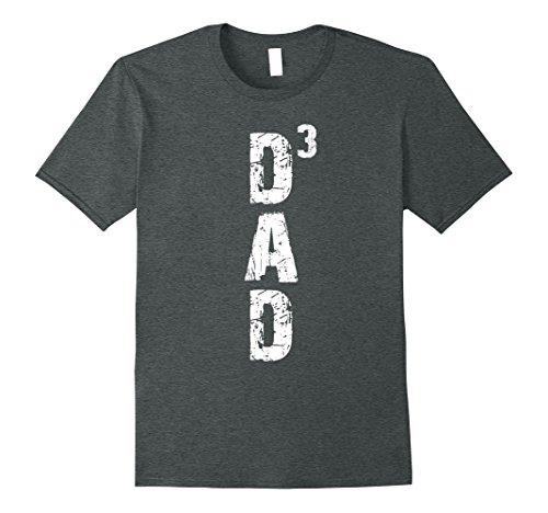 Mens Dad 3 T-Shirt Vintage Style Tee Shirt Gift For Dad Of Three XL Dark Heather