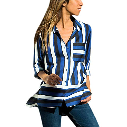 Gopeak Womens Chiffon Striped T-Shirt Print Turn-Down Collar Long Three Quarter Sleeve Top Shirt Blouse Blue -