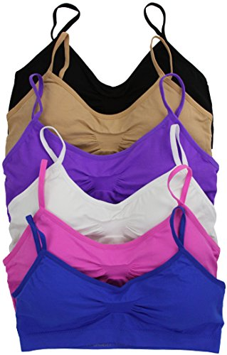 ToBeInStyle Women's Pack Of 6 Seamless Cinched Chest Padded Bras - One Size
