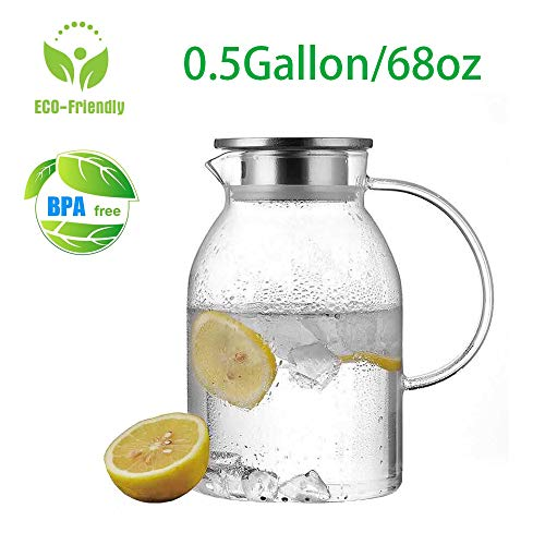 - 0.5 Gallon/68 oz Glass Carafes Pitcher with Lid BPA-FREE Mix Drinks Water Jug for Hot/Cold Lemonade Juice Beverage Jar Ice Tea Kettle (68oz Stainless Steel Lid)