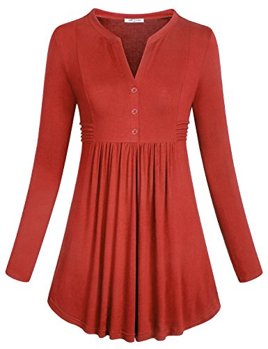 Rouched Top Maternity - SeSe Code Business Casual Tunics for Women Teen Girls Long Sleeve Henley V Neck Cocktail Rouched Curved Hemline High Waist Stunning Club Shirt with High Heels Knitted Polyester Blouses Orange Red XXL