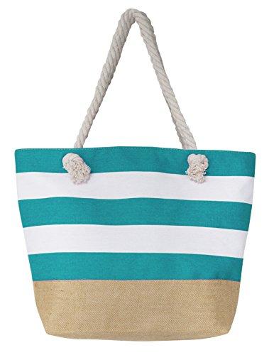 Leisureland Canvas Tote Beach Bag, Water Resistant Shoulder Tote Bag (L20 xH15 xW6, Stripe Blue) by Leisureland