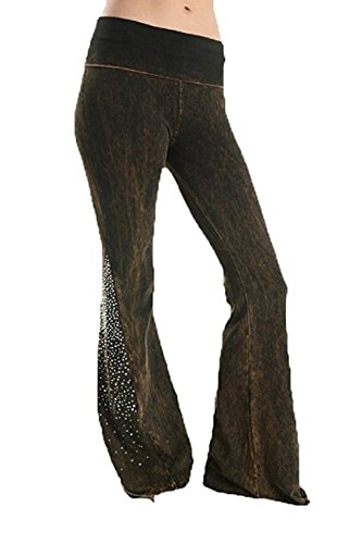 (T Party Fold Over Or Elastic Waist Bell Bottom New Yoga Pants Pick Style. (Small, Brown Rhinestone) )