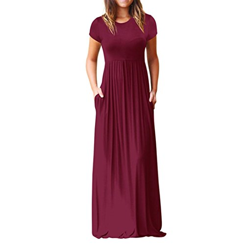Hot Sale Summer Dress,Women O Neck Casual Pockets Short Sleeve Floor Length Dress Loose Party Dress (S, Wine Red) by Leedford Dress