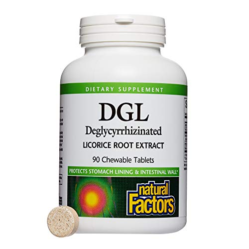 Natural Factors - DGL Licorice Root 400mg, Supports the Integrity of the Stomach Lining, 90 Chewable ()