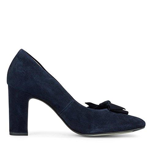 Paul Green 3615-001 Damen Pumps Aus Veloursleder Elegante Laufsohle mit Absatz Blau