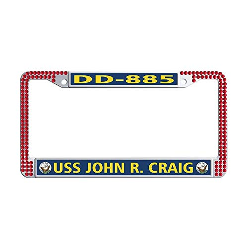 Bling Bling Rhinestone Auto License Plate Frame, U.S. Navy USS John R. Craig DD-885 Red Sparkle Rhinestones Crystal License Frames Plate with Screws Caps Set ()