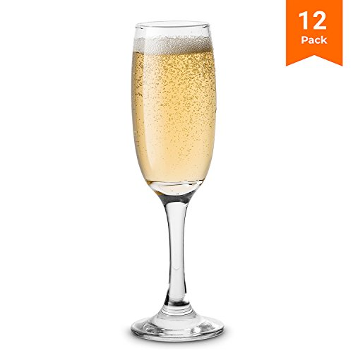 KooK Premium Clear Glass Champagne Flutes, Thin Stem, 7 ounce (12)