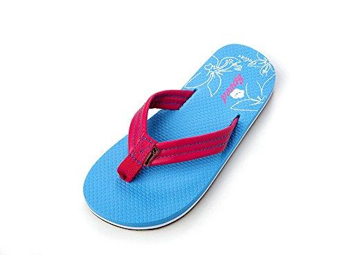 als Flip-Flops by Comfortable Soft Light Flower Print Color Strap 3 Different Color Footbed (1, Light Blue) (Print Footbed)