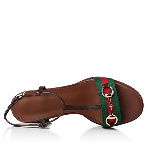 Amoonyfashion Para Mujer Suave Material Hebilla Abierta Dedo Kitten-heels Assorted Sandalias De Color Marrón