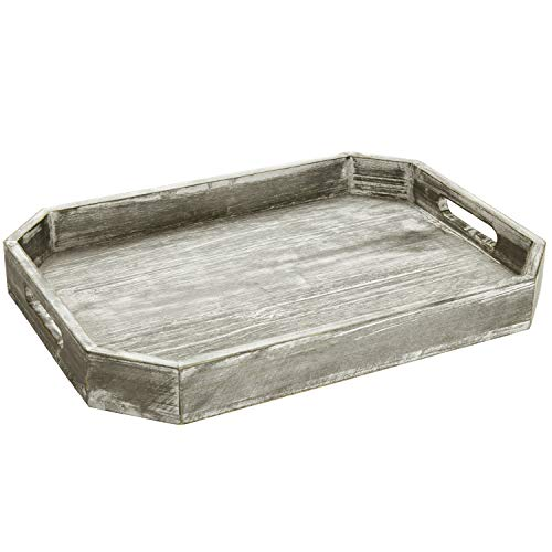 (MyGift Country Rustic Wood Serving Tray with Cutout Handles and Angled Edges)