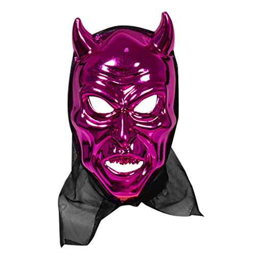 FEDULK Halloween Cattle Magic Horror Mask Cosplay Bar Performance Theme Party Costume Mask(Purple)
