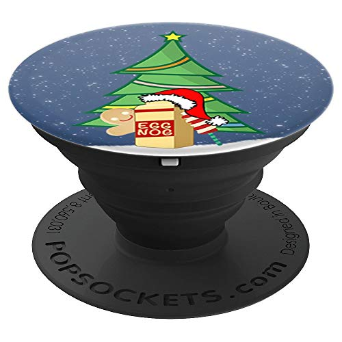 Christmas Crew Pop Socket with Eggnog Tree and Gingerbread - PopSockets Grip and Stand for Phones and Tablets