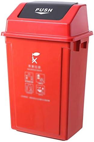 滑らかな表面 大規模なリサイクルビン、大容量増粘プラスチックの分類ゴミ箱ファクトリーザ・モールゴミ箱 リサイクル可能なデザイン (Color : Red, Size : 32*45*75CM)