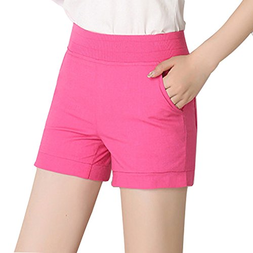 Tulucky Womens Solid Color 4-Pocket Casual Linen Walking Chino Juniors Shorts (L, Rose) (Walking Shorts Rose)
