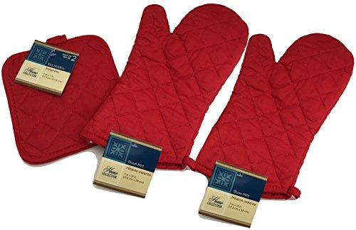 Kitchen Oven Mitt Pot Holder Set Red Kitchen Linens Oven Mitt Pot Holder Pack