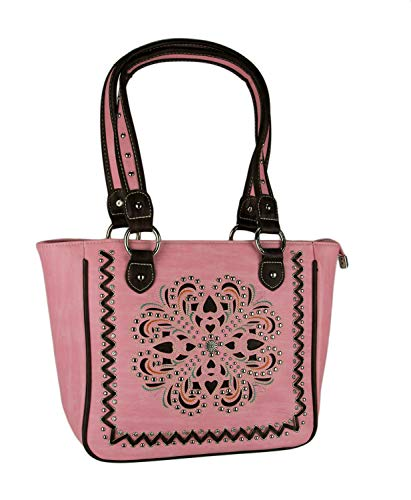 Montana West Concho Collection Pink Cut-Out Floral Concealed Carry Tote Bag