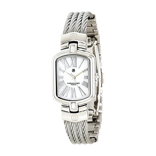 Stnlss Stl Wire Bangle White Mop Dial Watch by Charles Hubert Paris Watches, Best Quality Free Gift Box ()