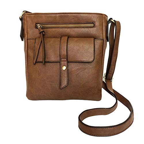 FanCarry PU Leather All-in-One Small Zip Organizer Crossbody Purse Shoulder Bag with 2 Front Pockets (Brown) ()