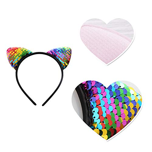 In Women Cute Reversible Sequin Cat Ears Head Band Chain Jewelry Piece Hairband Birthday Party Hair Accessories Superior Quality