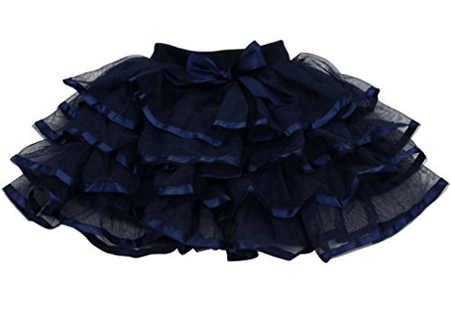 Tortoise & Rabbit Little Girls and Big Girls Tulle Tutu Skirt (4T-S(4), Navy Blue)