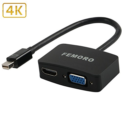 Mini Display to VGA HDMI Adapter 4K Converter, FEMORO MDP Mini Displayport to HDMI VGA Adaptor (Thunderbolt Compatible) 2-in-1 Connecter for Apple, Mac MacBook Air Pro, Surface Pro3 4, Lenovo HDTV by FEMORO
