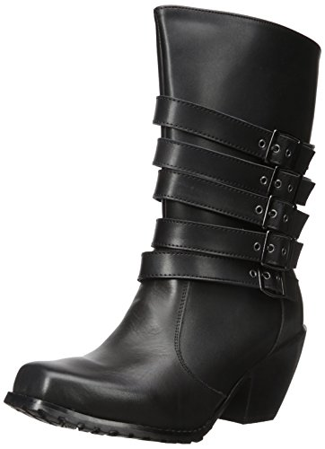 Black Buckle Biker Boots - 2