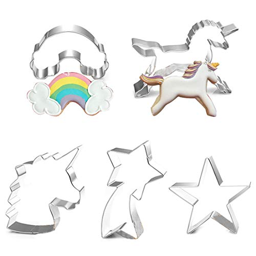 Unicorn Cookie Cutter Set Stainless Steel DIY Cake Biscuit Moulds Pastry Fruit Fondant Cutters and Molds for Baking Cake Decorating Supplies Kit