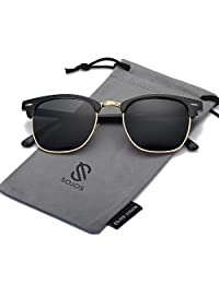 SojoS Lentes De Sol Rimless Cudrado Polarizado Con Tache SJ5018
