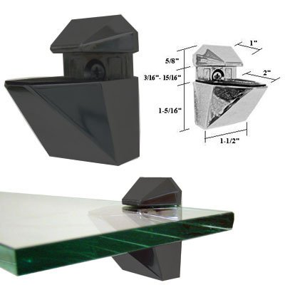 Black Adjustable Glass or Wood Shelf Brackets - Pair