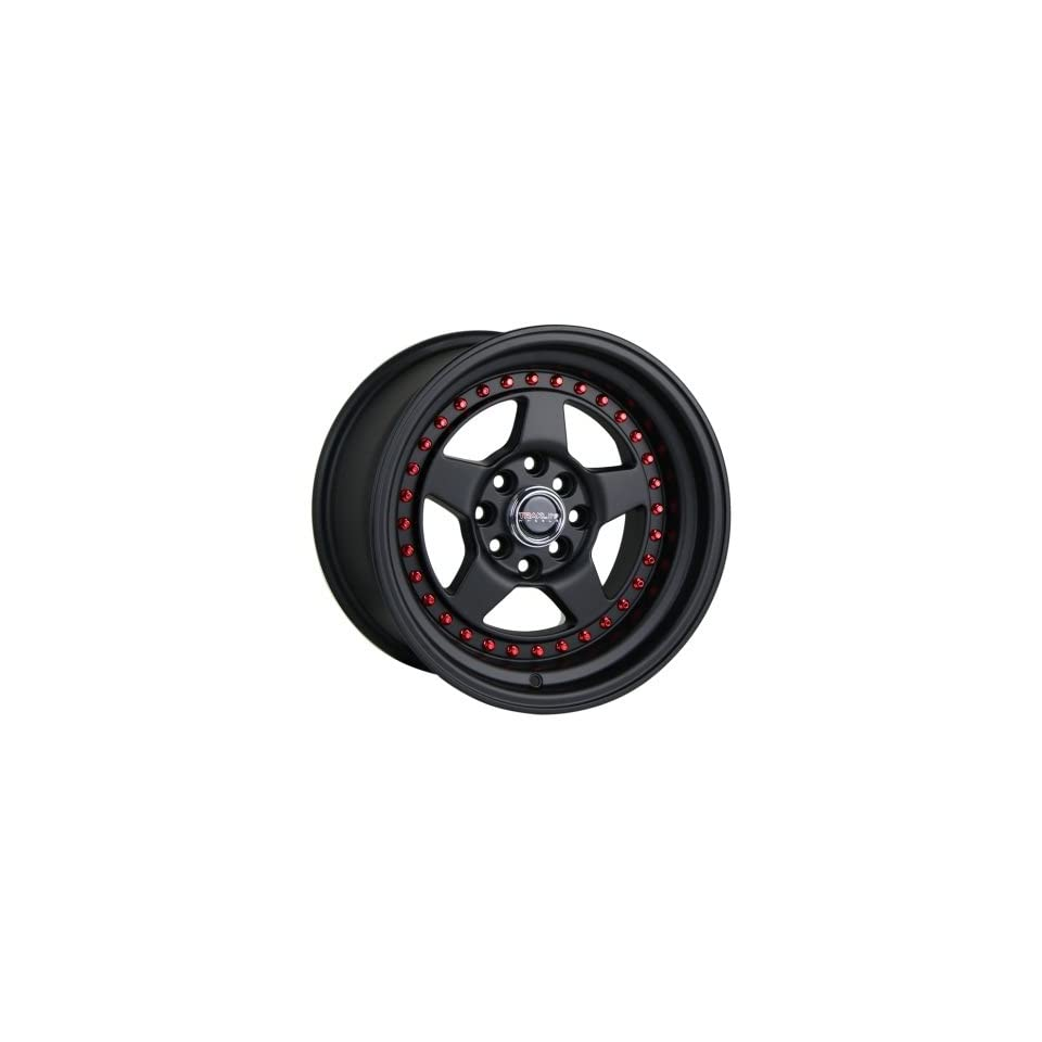 Traklite APEX 15x8.25 4x100 4x114.3 20mm All Matte Black Red Rivets (complete set of 4) Automotive