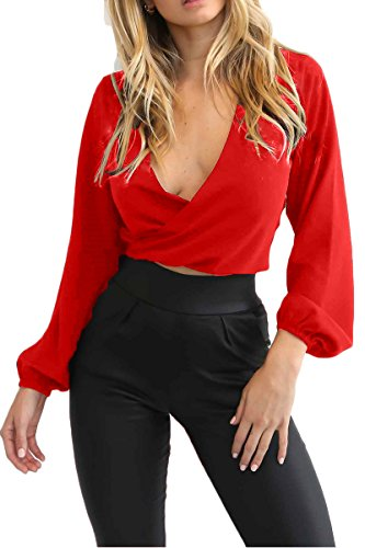(Almaree Womens Deep V Neck Long Sleeve Wrap Crop Top Off The Shoulder Blouse Red S)