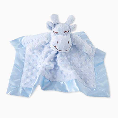 (TD Baby Blanket Plush Cow Security Blanket Lovey Stuffed Animal Blankie Plush Dots Satin Trim - Blue )