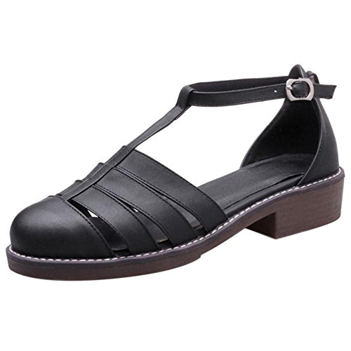 TAOFFEN Women's Gladiator T-Strap Court Shoes Black-29 xdUgV3OR