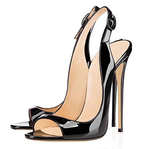 Elegante Alto Sandalo Punta Sandali 12cm Slingback Tacco Donnapompe Aperta Nero Stiletto A Con Da Elashe W7qOAnA