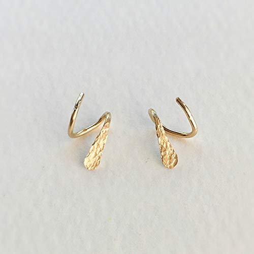 - 14k Gold Filled Multi Loop Winding Earrings Helix Pierced Earrings Hammer Face Earrings Color Gold