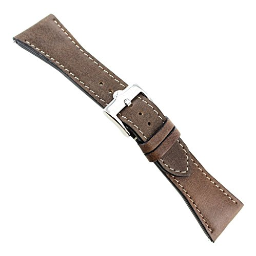 [26mm Glam Rock Thick Genuine Leather Brown White Stitched Watch Band EZ PINS] (Womens Rock Band)