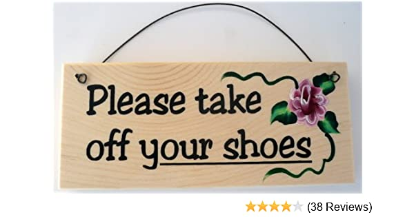 Amazon Com Please Take Off Your Shoes Sign Home Kitchen