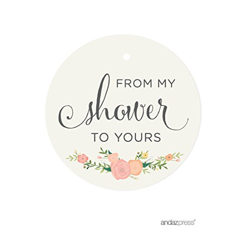 Andaz Press Baby and Bridal Wedding Shower Round Circle Party Favor Gift Tags, From My Shower to Yours, Floral Roses, 24-Pack -