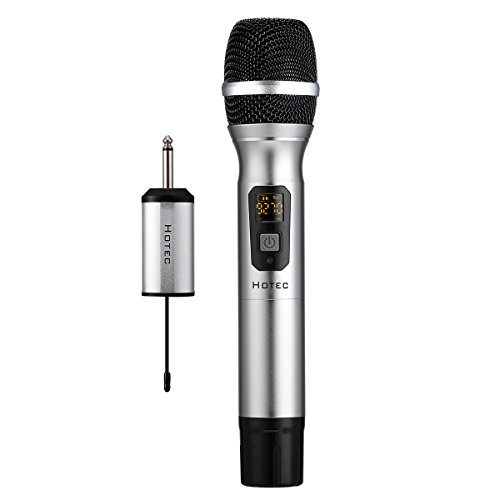 Hotec 25 Channel UHF Handheld Wireless Microphone with Mini Portable Receiver 1/4'' Output, For Church/Home / Karaoke/Business Meeting by Hotec