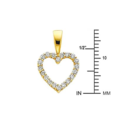 14k Yellow Gold Open Heart CZ Pendant with 1mm Snail Link Chain Necklace