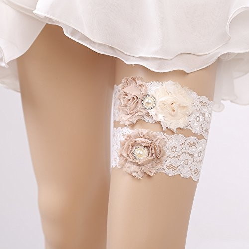 Kercisbeauty Set of 2 Handmade Bridal Bridesmaids Elastic Adjustable Garter White Lace Champagne Rose Flower and Pearl,Hen night bachelorette party ()