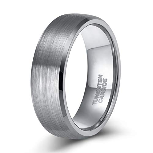 Band Fit Comfort Wedding Flat - 6MM Mens Rings Tungsten Carbide Silver Plated Matte Dome Brushed Beveled Edge Comfort Fit (9.5)