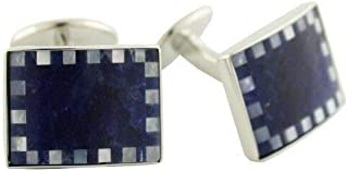 product image for David Donahue Men's Sterling Silver Rectangle Mother of Pearl Cufflinks-Blue Sodalite (CL518802)