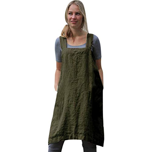 - NRUTUP-Women New Linen Pinafore, Apron Square Cross Linen Garden Work Pinafore Apron Dress Japanese Style Army Green